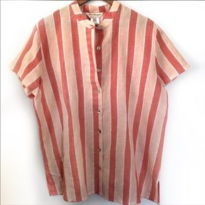 Norm Thompson peach coral linen top size 1X